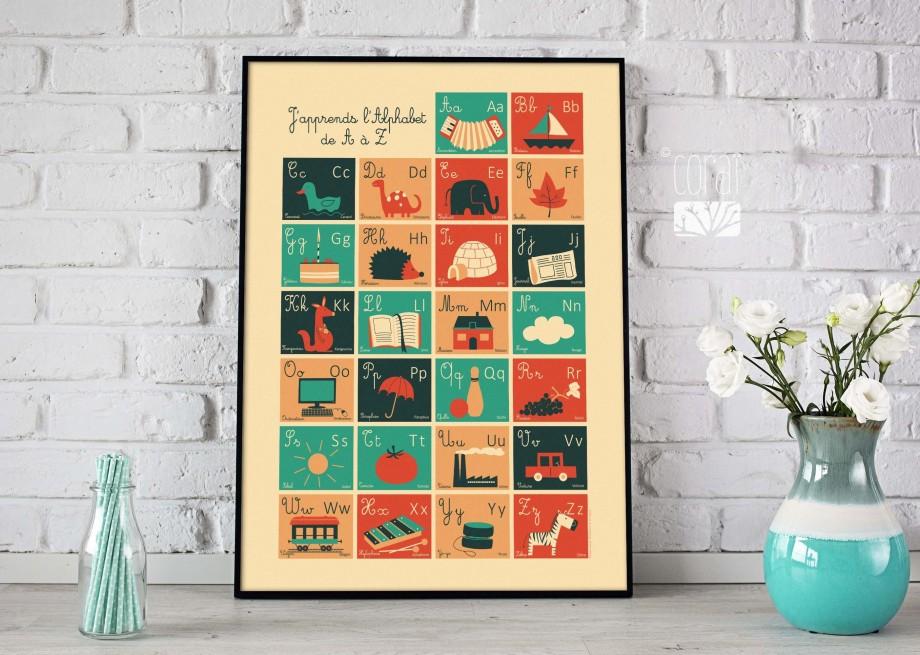 Grand poster pour enfant apprentissage de l'alphabet