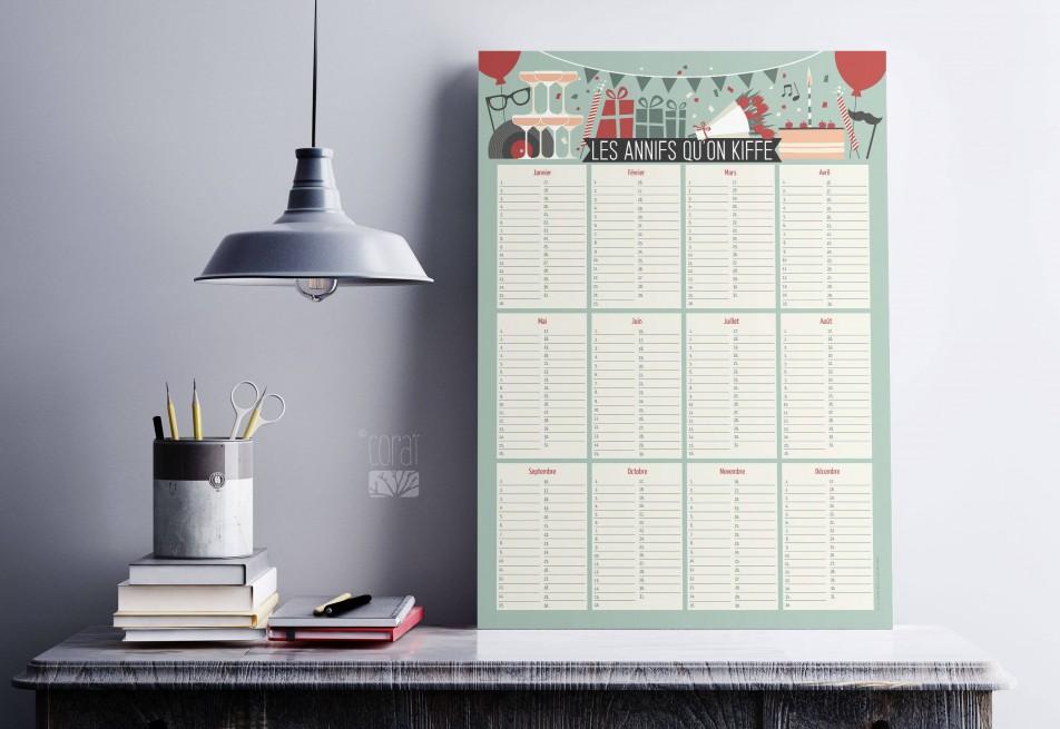 """Poster calendrier des anniversaires """"Les Annifs qu'on kiffe!"""""""