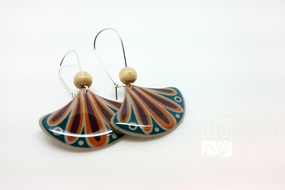 Boucles d'oreilles éventail de couleurs