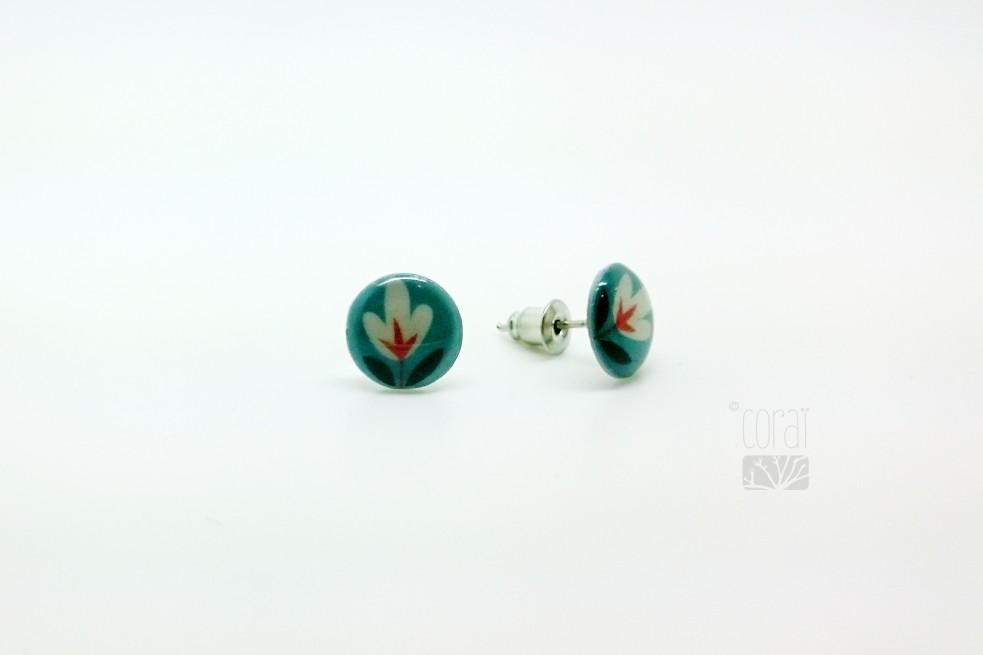 Boucles d'oreilles Fleur rouge & bleue