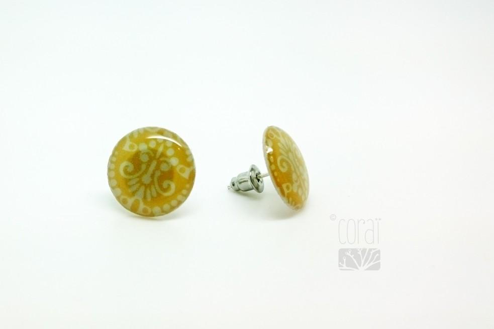 Boucles d'oreilles Motif couleur moutarde