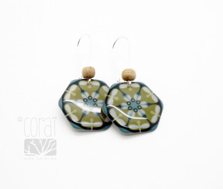 Boucles d'oreilles hexagone vert et bleu