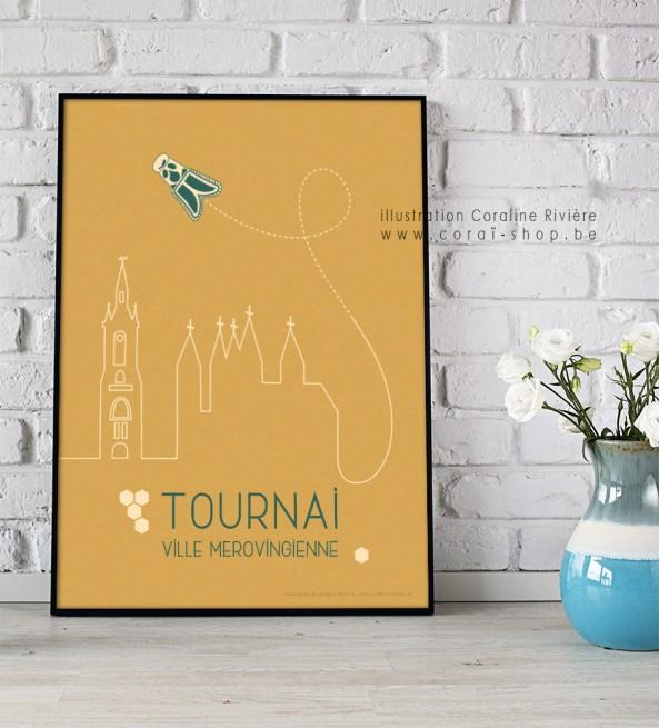 Poster Affiche Tournai ville mérovingienne